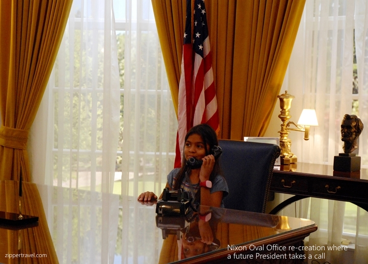 Young girl telephone Nixon Oval Office re-creation Nixon Library