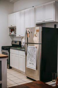 Magnets on fridge in kitchen