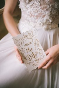 Save the date card women in wedding dress