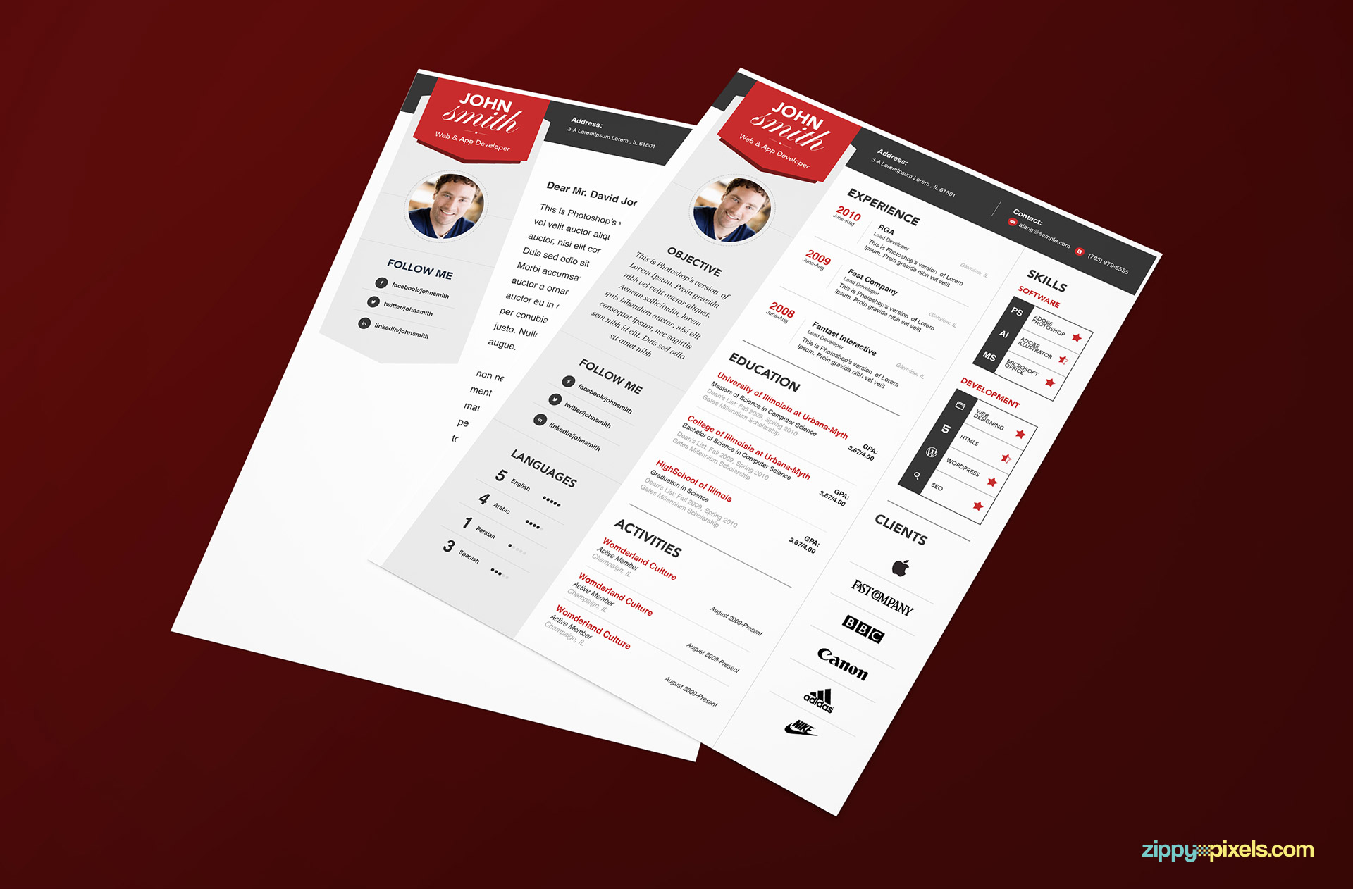 Modern Resume Template Download Download Simple Resume Cover Letter In Modern Look 3 Colors