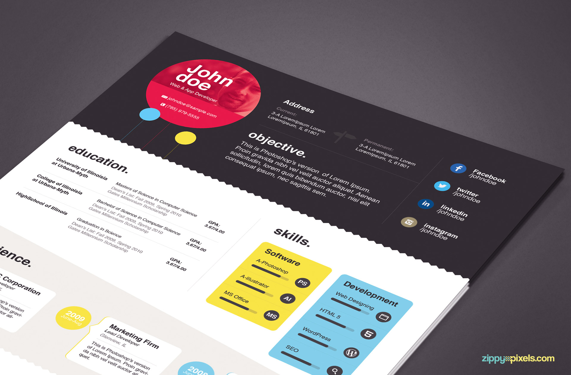 Free Creative Resume Templates Word Download Elegant Resume Template In Ms Word And Psd