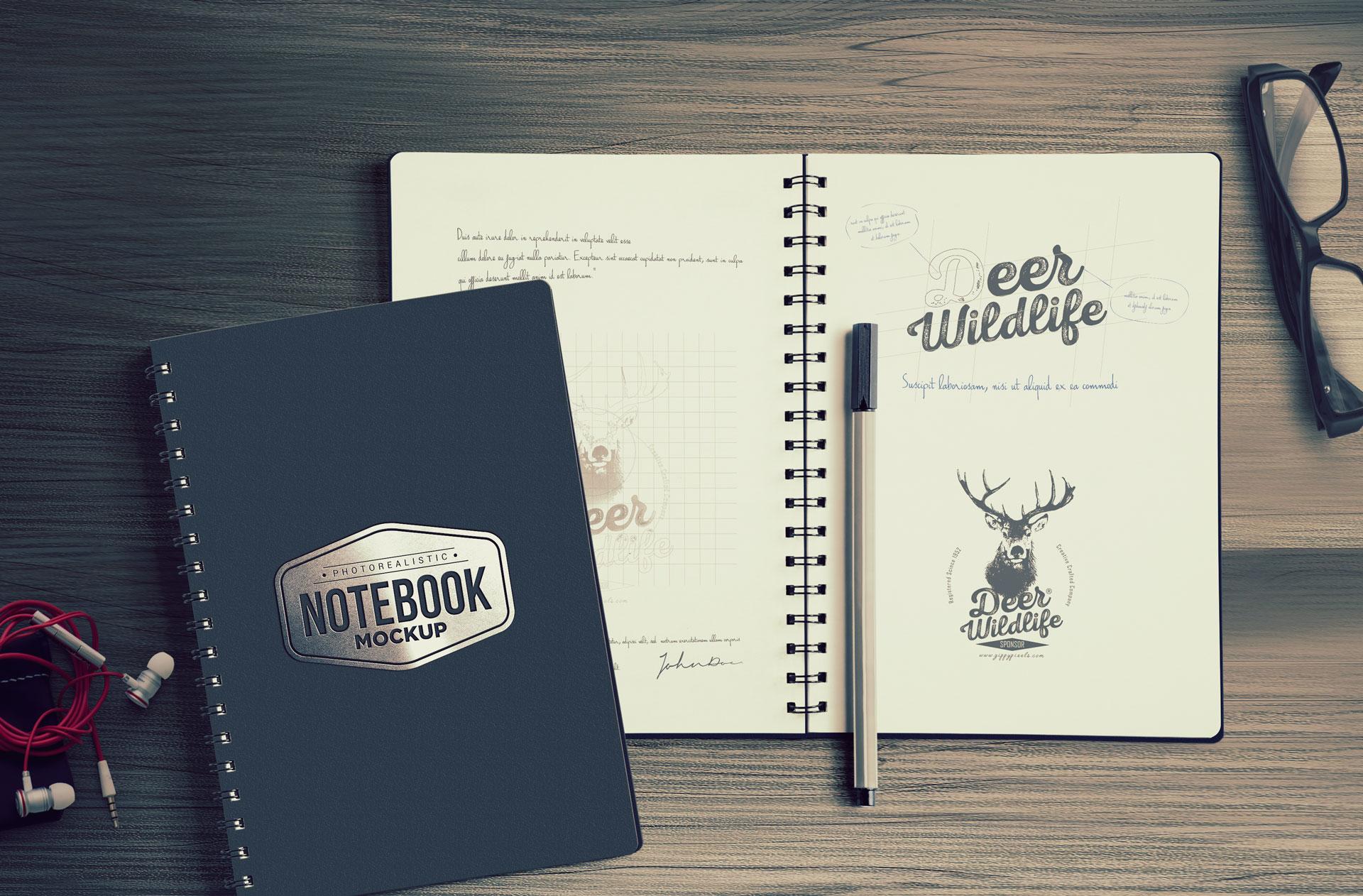 Notebook Mockup Free PSD Download ZippyPixels