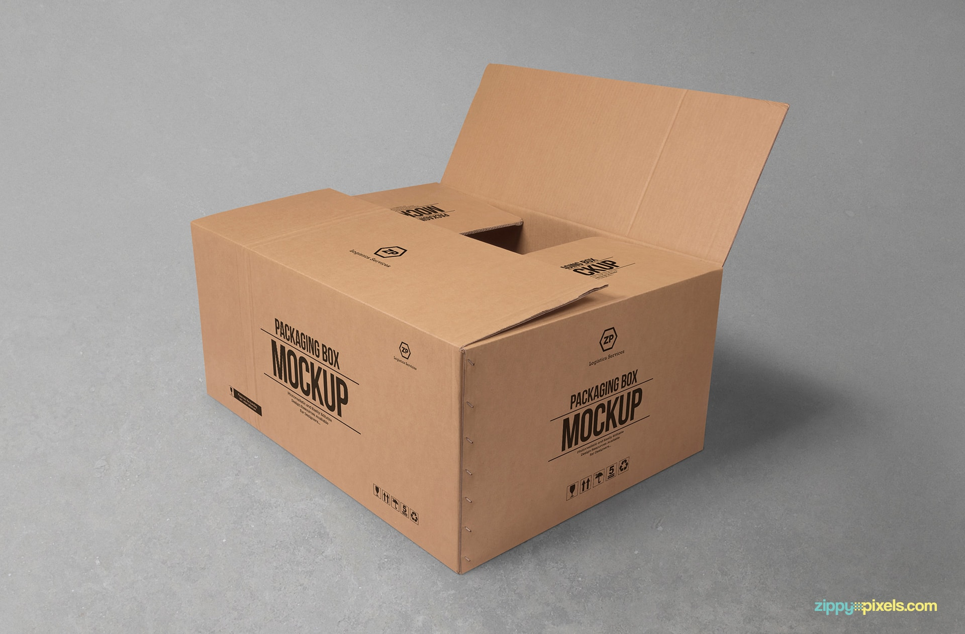 Free Cardboard Box Mockup  ZippyPixels