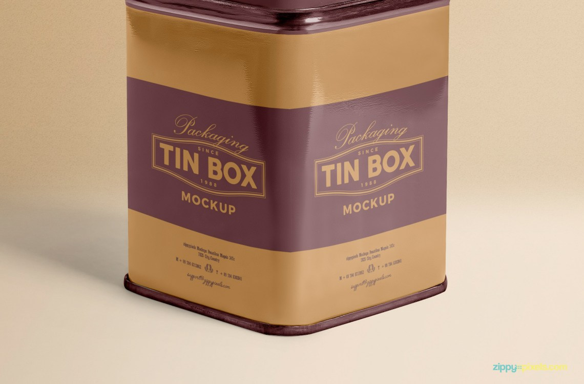 Download Metallic Box Packaging Mockup PSD Free | ZippyPixels
