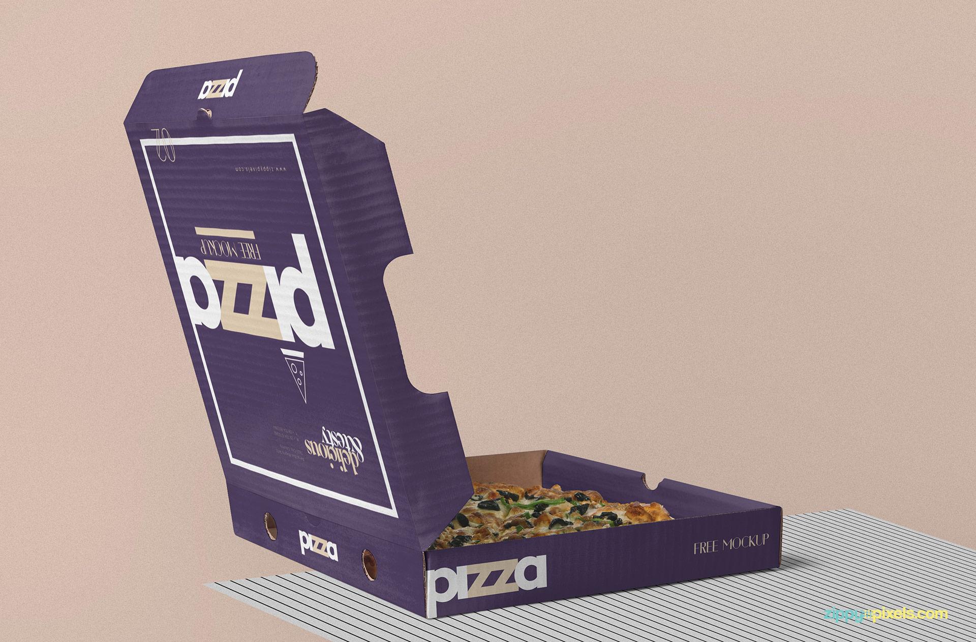 Advanced, easy to edit mockup. Free Pizza Box Mockup Psd Zippypixels