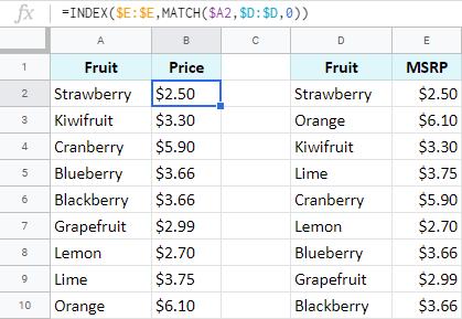 Pull matching data using formulas in Google Sheets.