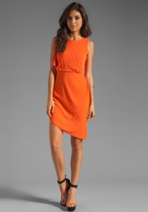 Halston_Orange_Asymmetrical_Dress