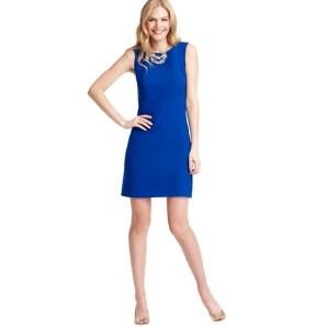 Loft Bright Blue Dress Nude Shoes