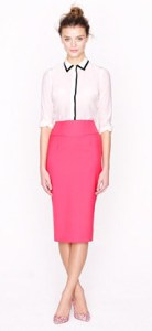 Pink Pencial Skirt with Black and White