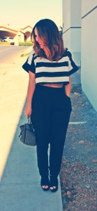 crop top high waisted pants
