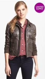 Halogen Hooded Leather Jacket NAS