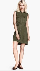 H&M Lyocell Sleeveless Shirt Dress