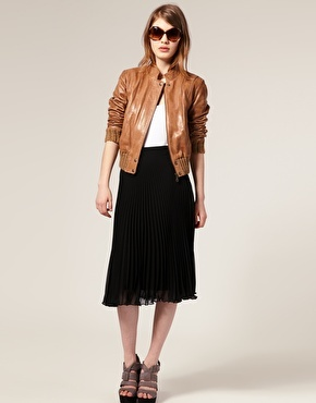 Leather bomber with skirt