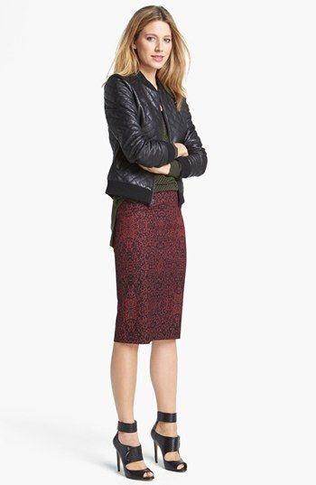Leather quilted bomber with pencil skirt