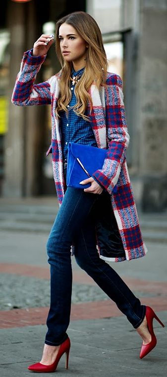 plaid blue red colorful coat