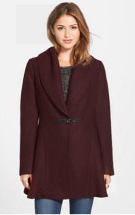 nordstrom kensize burgundy shawl coat