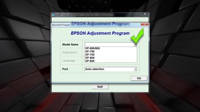 Сброс памперса - в программе выбираем модель принтера