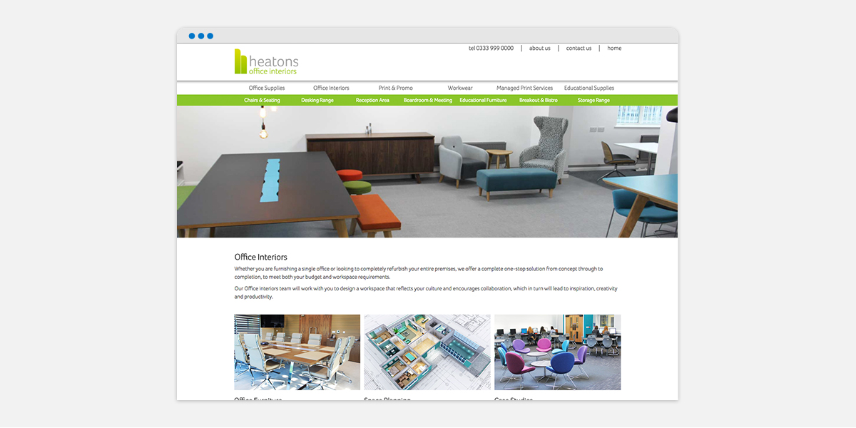 Screen grab of Heatons homepage for their Office Interiors brand