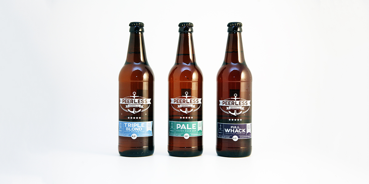 Image of 3 Peerless Brewery bottles: Triple Blond, Pale and Full Whack