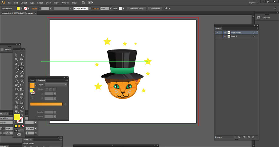 A magical cat made in Adobe Illustrator with a black hat, green sash and yellow stars