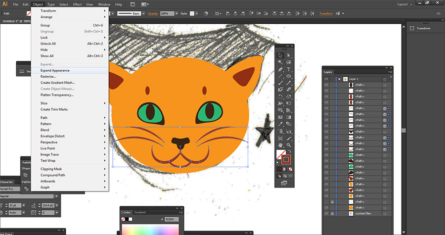 Expand Appearance in Adobe Illustrator, convert strokes to shapes