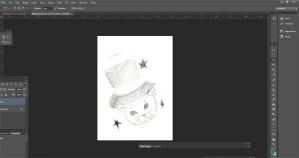 A sketch of a cat in a cute magician's hat