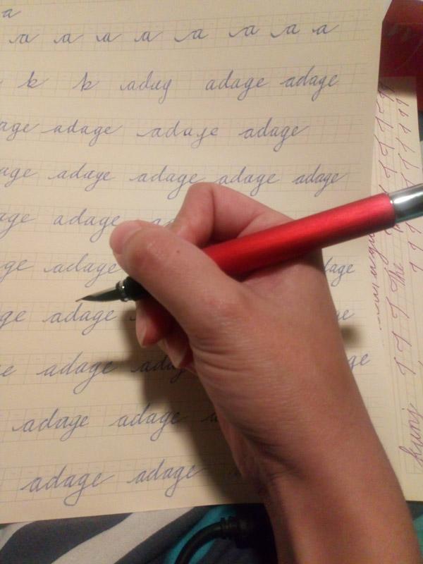 Incorrect pen grip for fountain pens
