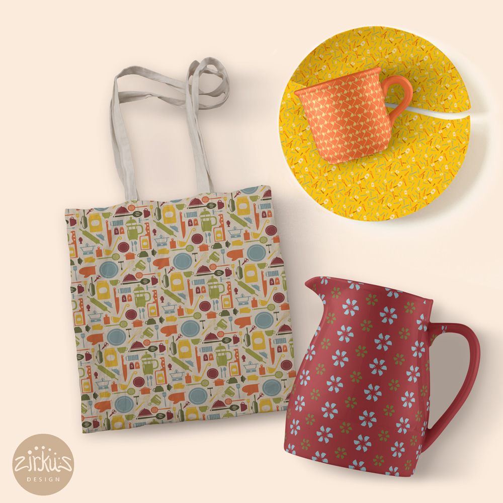 Zirkus Design | Cocinitas Retro Kitchen Surface Pattern Design Collection Kitchenware Mockups