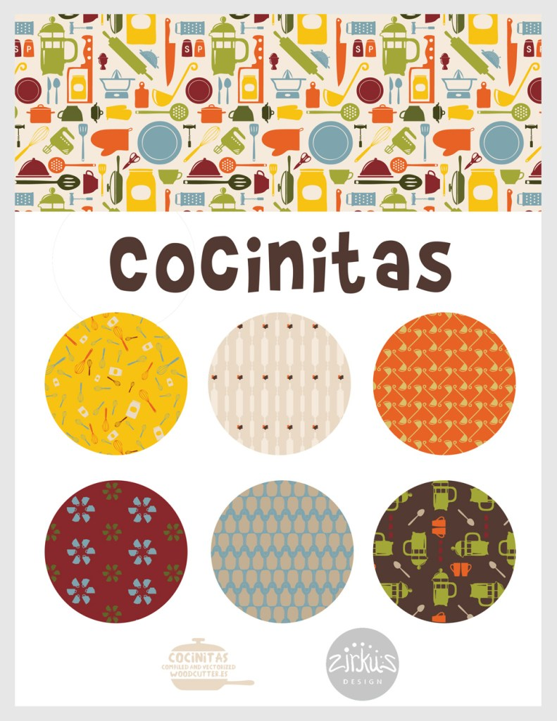 Zirkus Design | Cocinitas Retro Kitchen Surface Pattern Design Collection