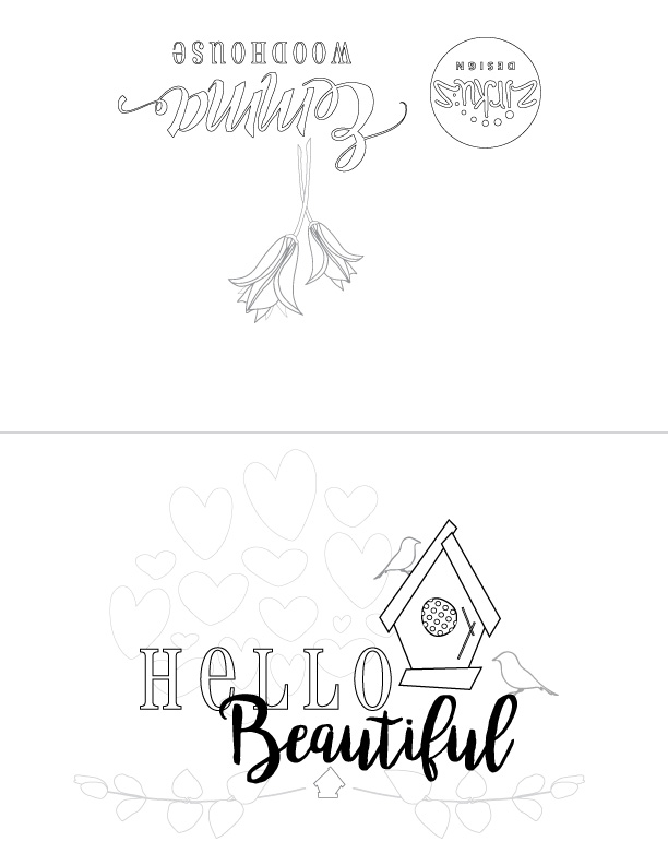 Zirkus Design | Free Printable Hello Beautiful Card to Color