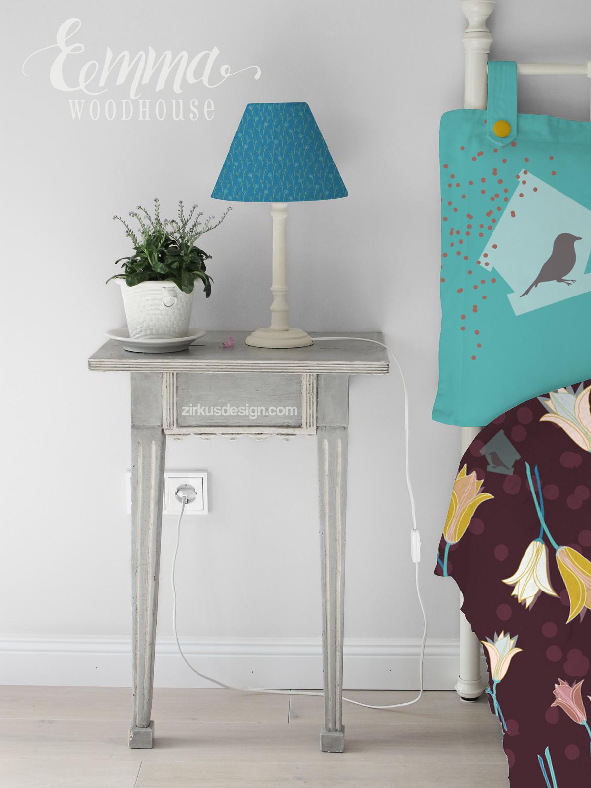 Zirkus Design | Emma Woodhouse Surfac Pattern Design Collection Bedroom Home Textiles Mockup