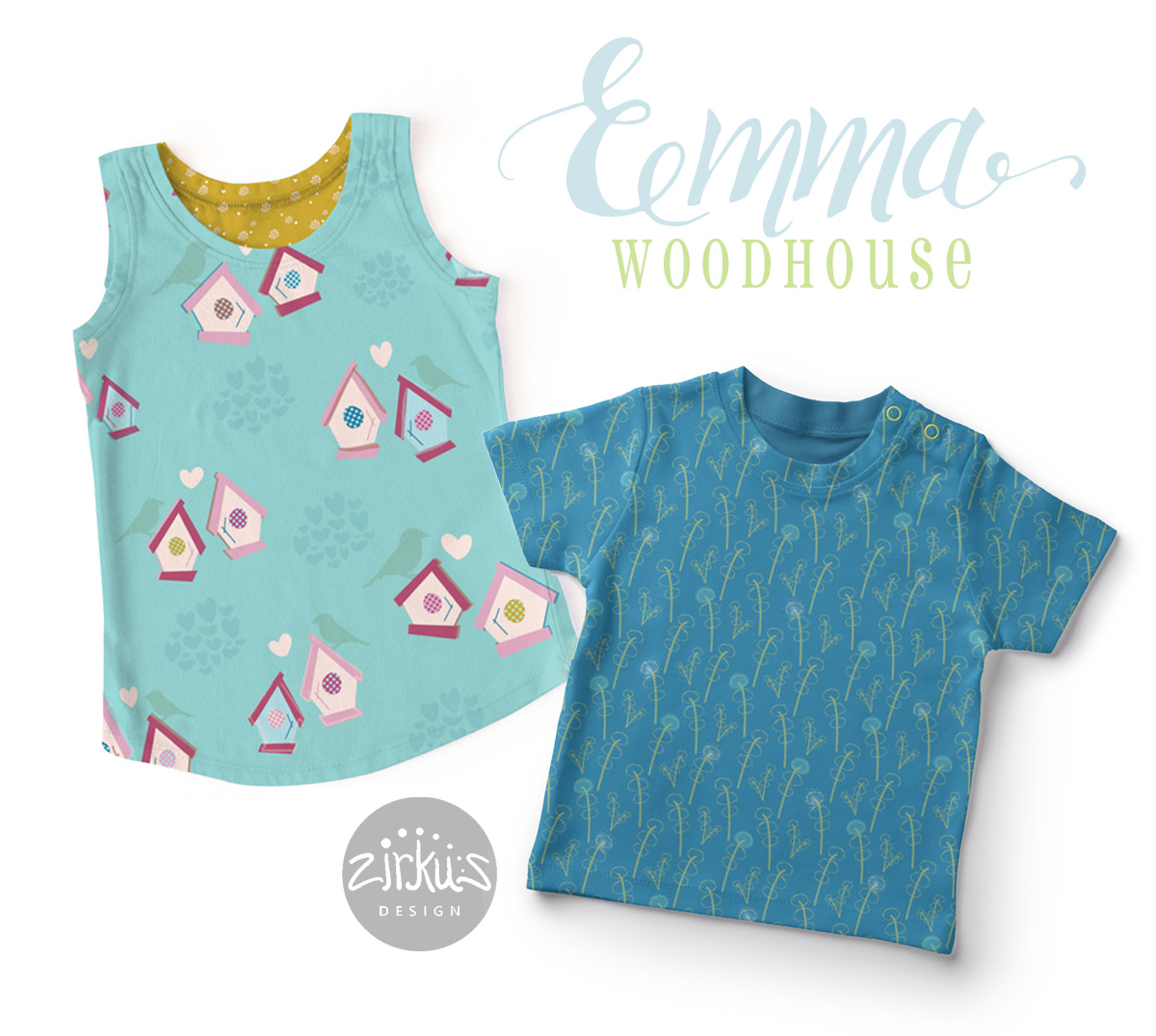 Zirkus Design | Emma Woodhouse Pattern Collection Children's Clothing T Shirt Mockups
