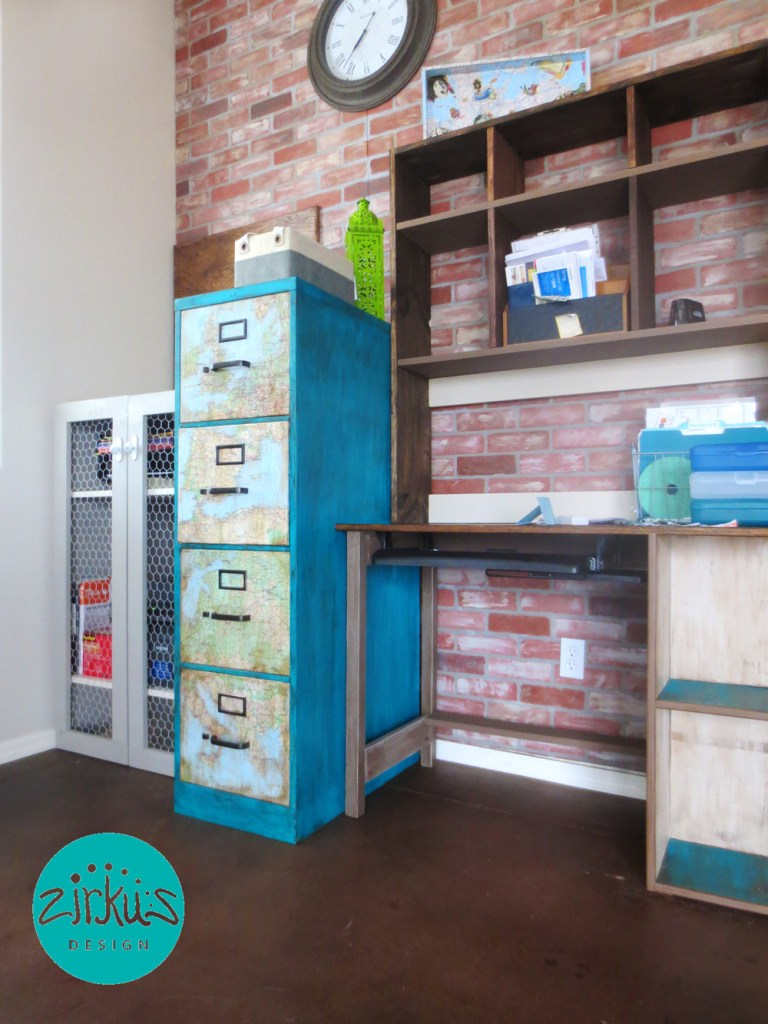 Zirkus Design | Home Office Handmade Desk + Upcycled File Cabinet