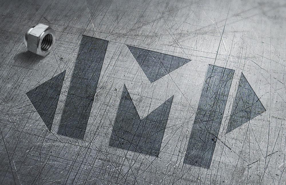 Zirkus Design   Logo Vector Art   JMP Initials Name Logo Metal Mockup