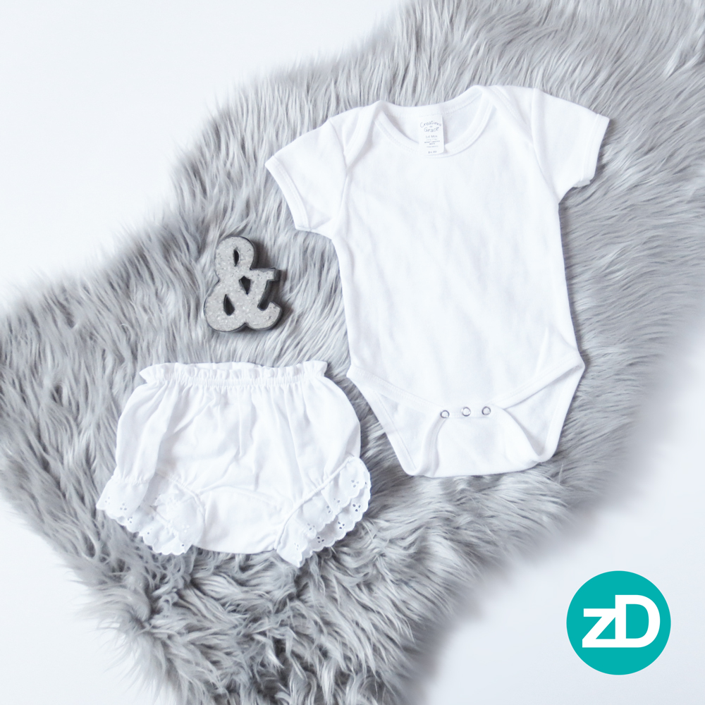 Zirkus Design | Photographing Flat Lay Product Mockup | Baby Onesie & Bloomers on Gray Fur Background