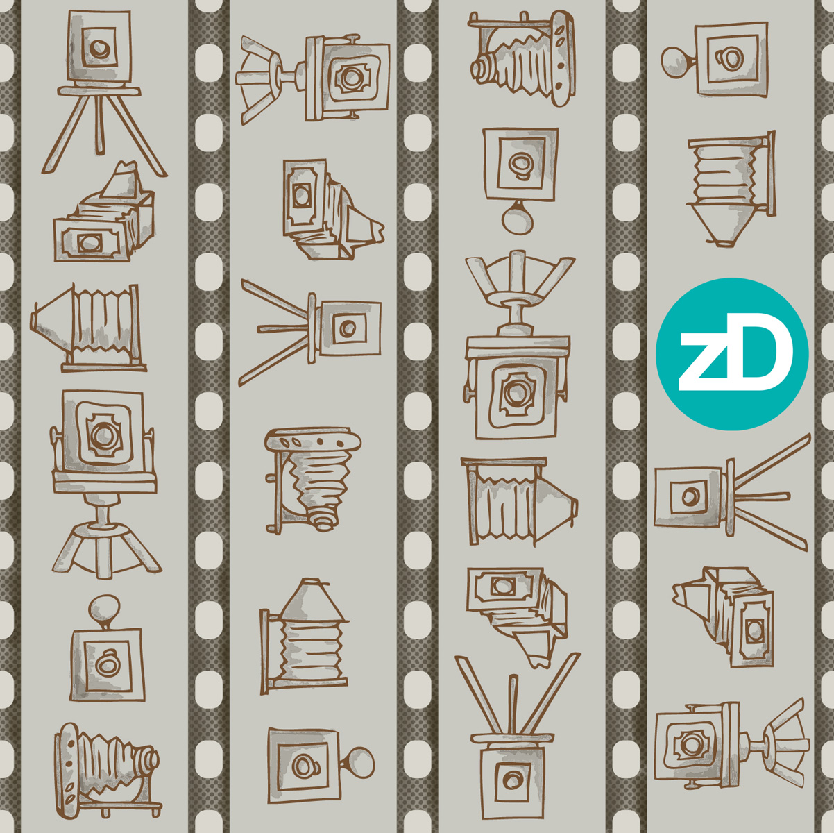 Zirkus Design | Cody Arizona Wild West Pattern Collection : Old Fashioned Cameras and Film
