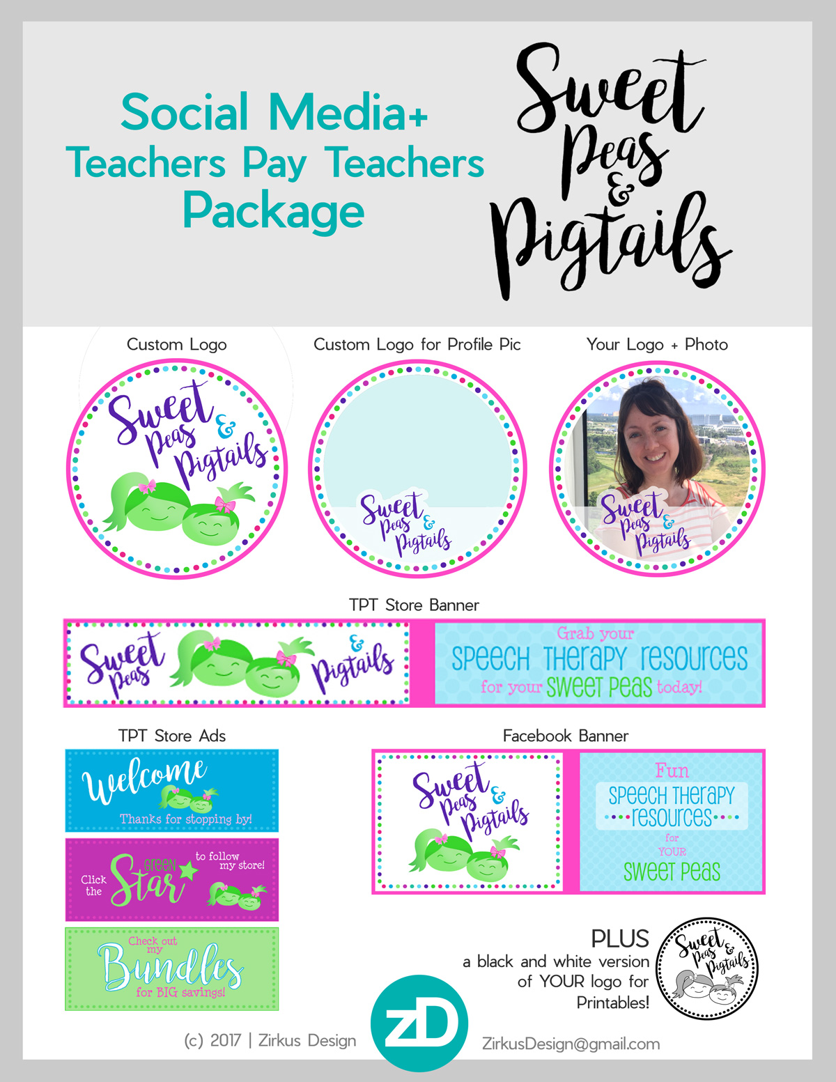 Zirkus Design | Teachers Pay Teachers Store Promo Package -Sweet Peas and Pigtails