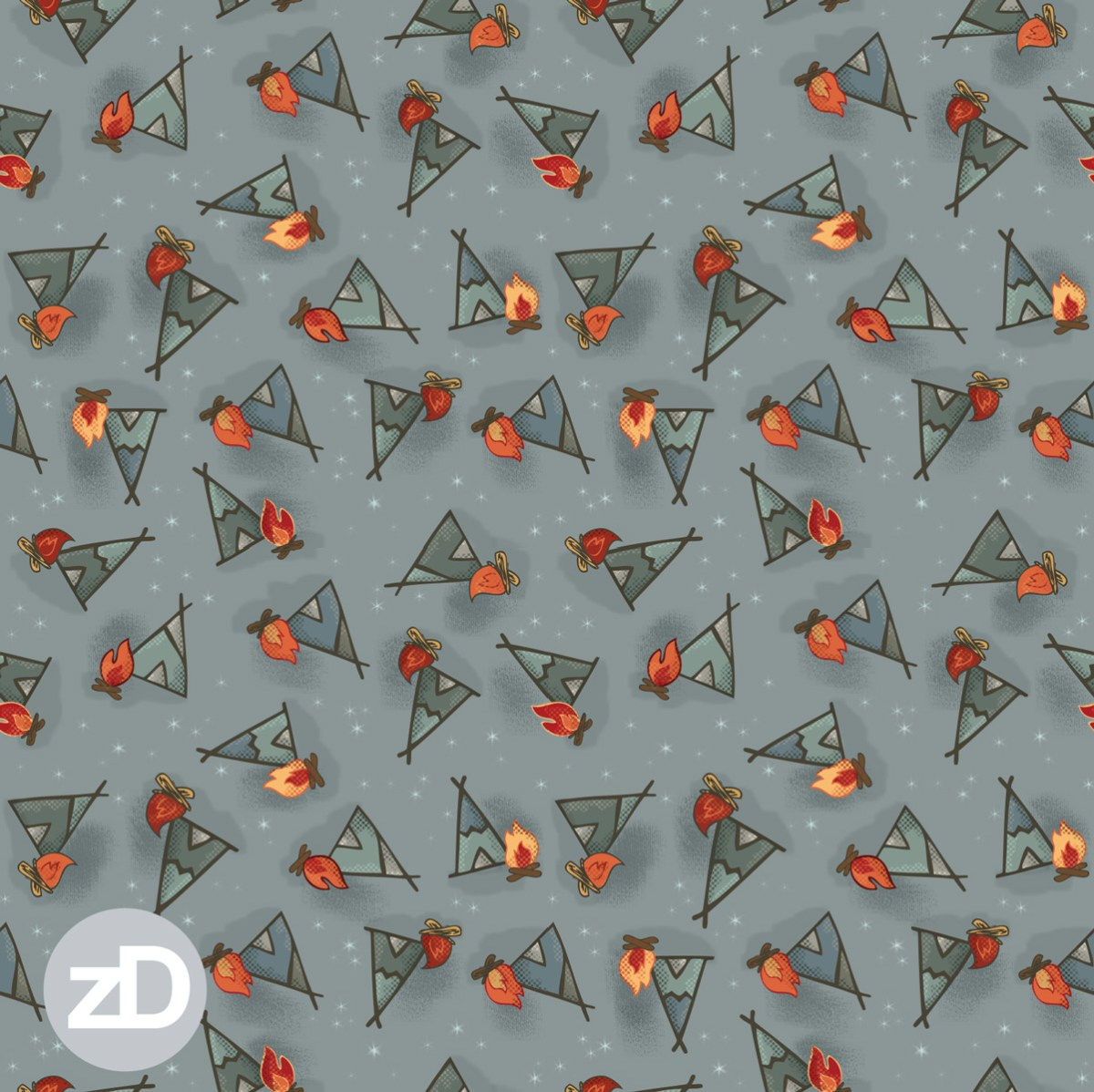Zirkus Design | Cody Arizona Wild West Pattern Collection : TeePees Tipis + Campfire Fire Under the Stars
