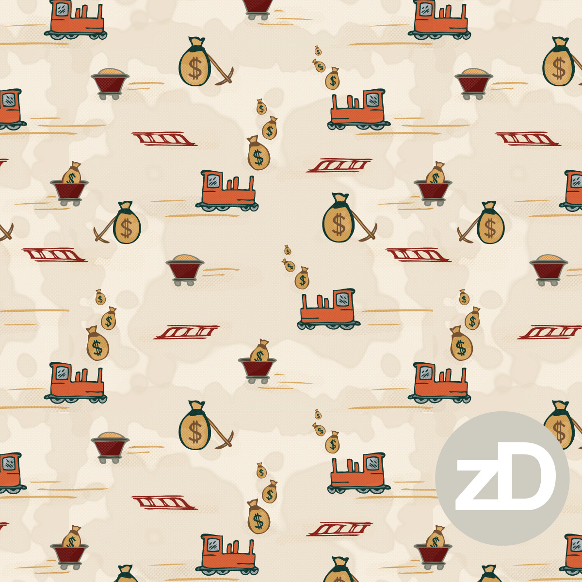 Zirkus Design | Cody Arizona Wild West Pattern Collection : Mining Trains / Mines / Robber Barons