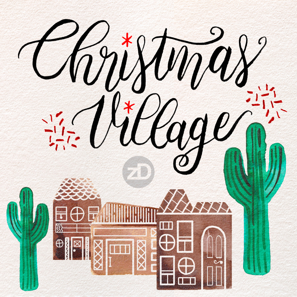 Zirkus Design | Advent Illustrations - Christmas Village - Watercolor, Gouache, Digital Painting, Lettering