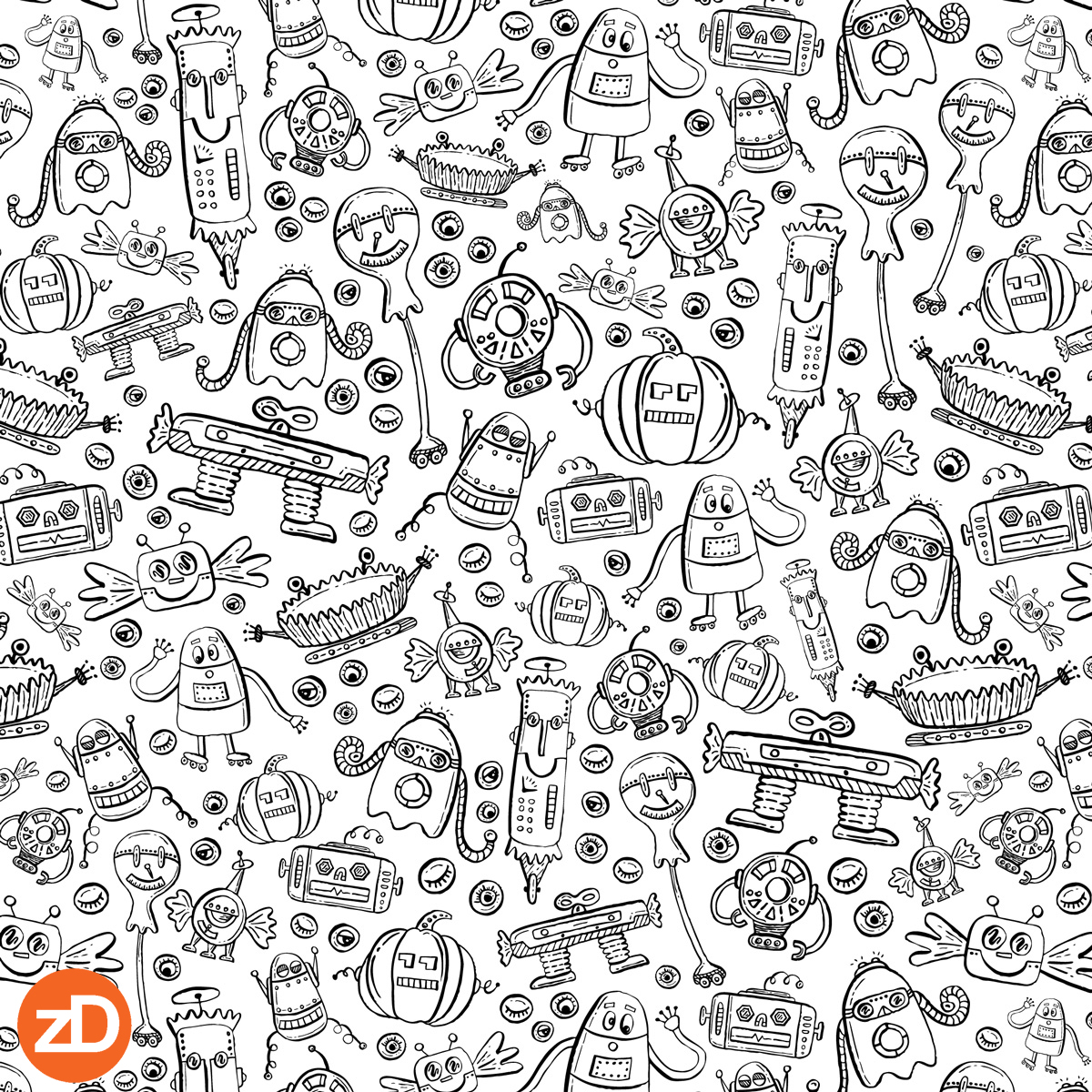 Zirkus Design | Halloween Candy Robots Collection - Black and White Coloring Book Fabric