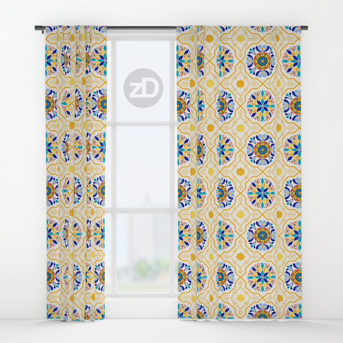 Zirkus Design | Sunny Spanish Tiles in Butter Yellow and IndigoPattern Available on Custom Window Curtains by Society6