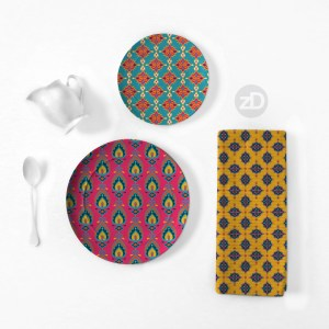 Zirkus Design   Surface Pattern Design Mini Ikat Collection : Tangier Teal Home Goods Mockup (Plates and Tea Towel)