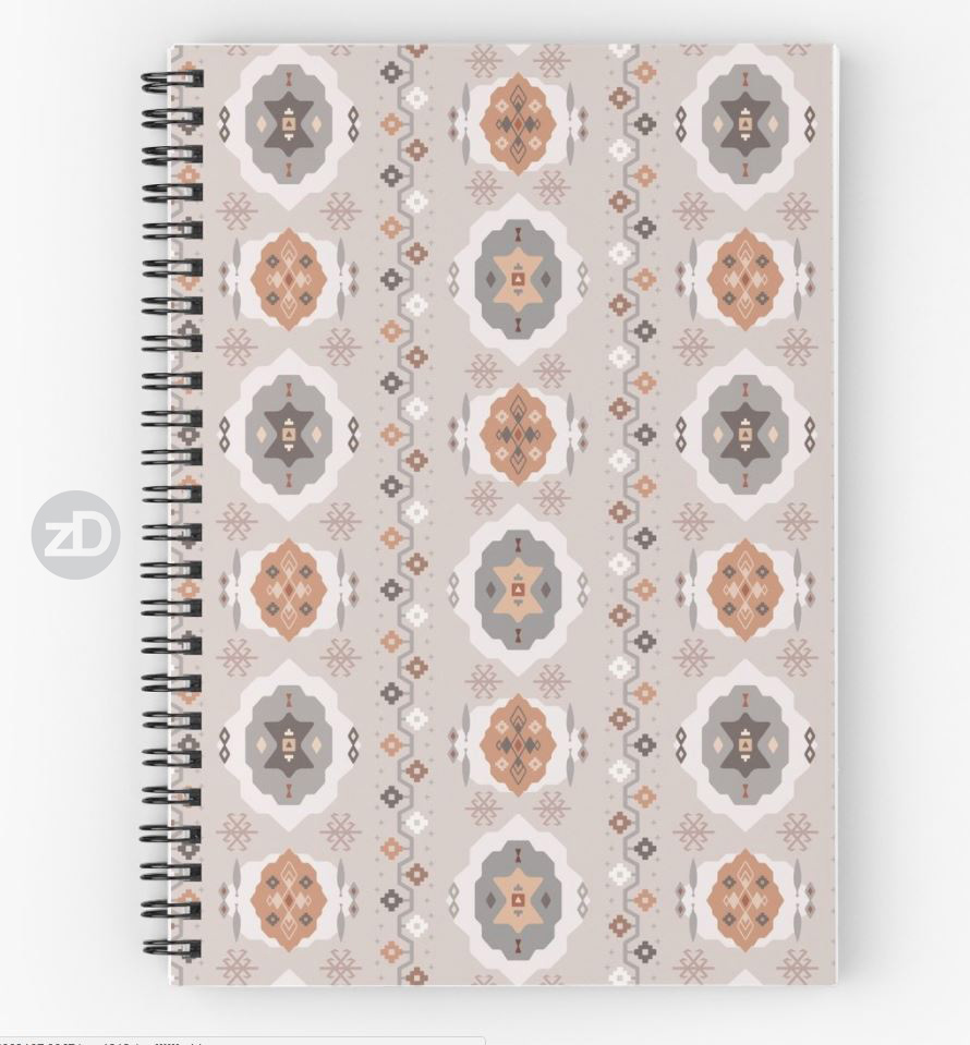 Zirkus Design | Boho Baby // Middle Eastern Metallic Pattern Collection Inspired by Turkish Kilim: Hero Print (notebook available through RedBubble)