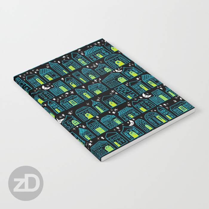 Zirkus Design | Happy City Pattern Available on Custom Notebook by Society6