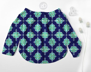 Zirkus Design   Surface Pattern Design Mini Ikat Collection : Tangier Teal Women's Off Shoulder Shirt Mockup