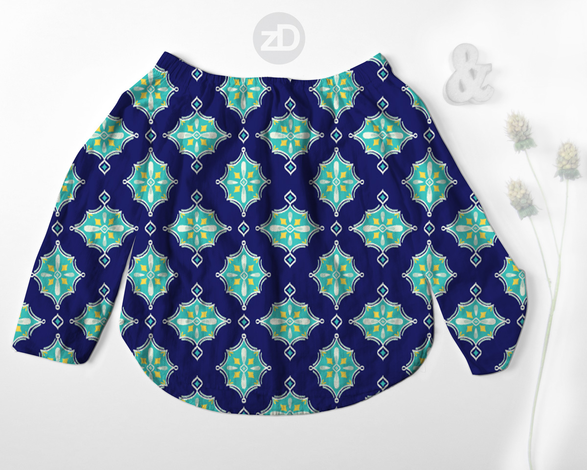 Zirkus Design | Surface Pattern Design Mini Ikat Collection : Tangier Teal Women's Off Shoulder Shirt Mockup
