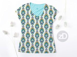 Zirkus Design   Surface Pattern Design Mini Ikat Collection : Tangier Teal Women's Scoop Neck T-Shirt