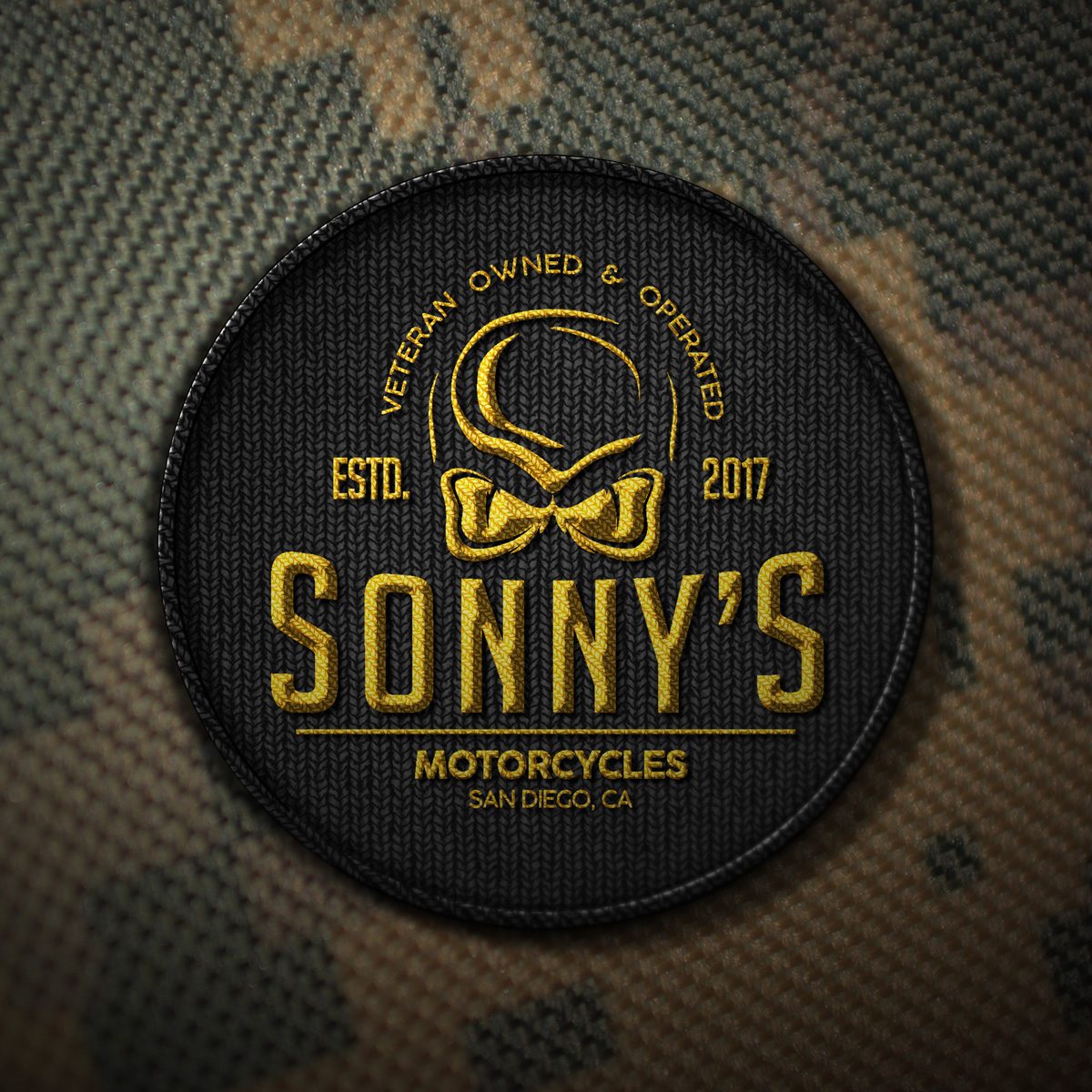 Zirkus Design | Logo Design for Veteran - Owned Businesses - Sonny's Motorcycles Camo Patch Mockup