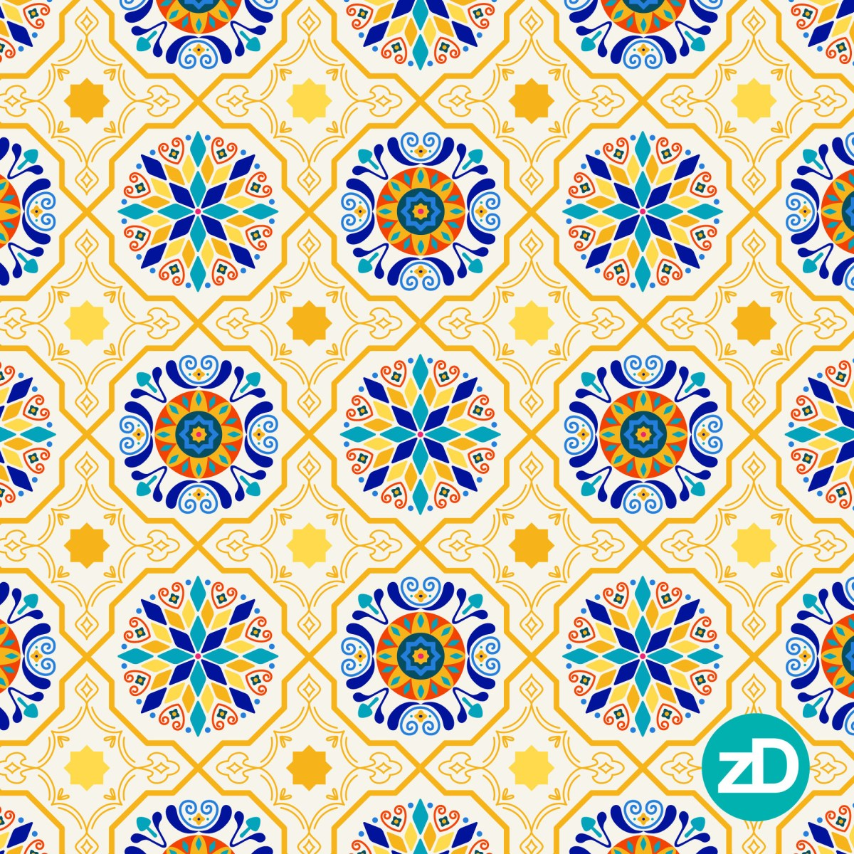 Zirkus Design | Cheery Modern Moorish Tiles Fabric Design - Spoonflower Challenge Final Color Palette